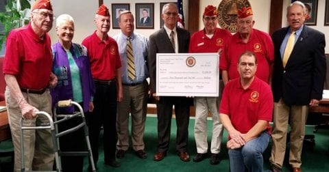 Marine Corps League presents check to Cobb Veterans Memorial Foundation
