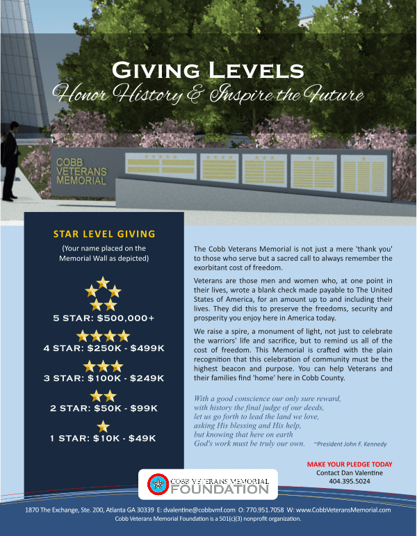 Cobb Veterans Memorial Sponsor Levels